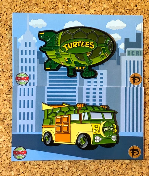 "Image of TMNT_Wiz Van & Blimp 2"" Enamel Pin Pack *5 OPTIONS*"