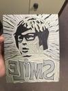 Brian Wilson. Beach Boys. Smile. Hand Made. Original linocut print.