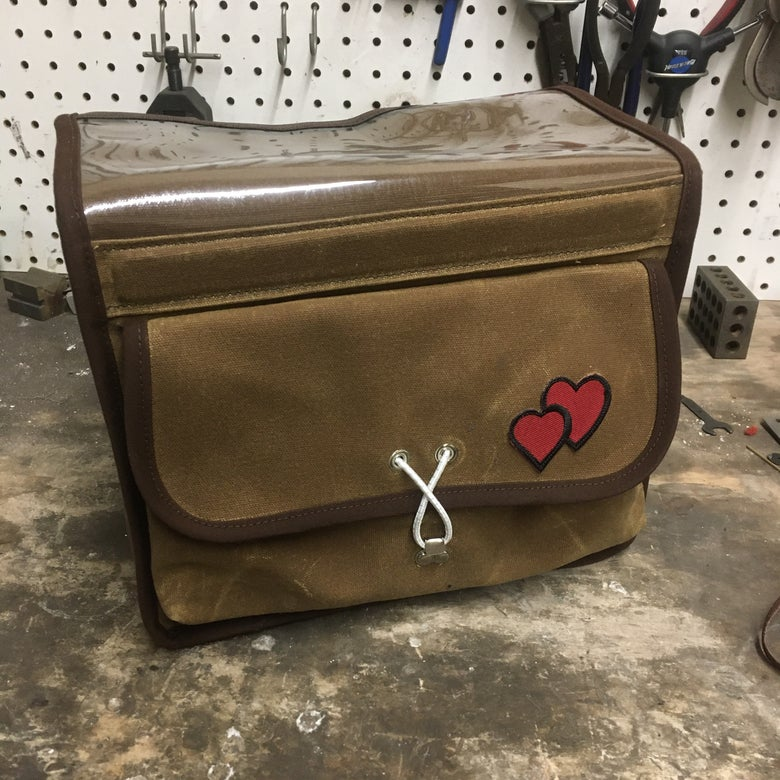 "Image of RuthworksSF 8"" Brown Waxed Canvas Randonneur Bag"