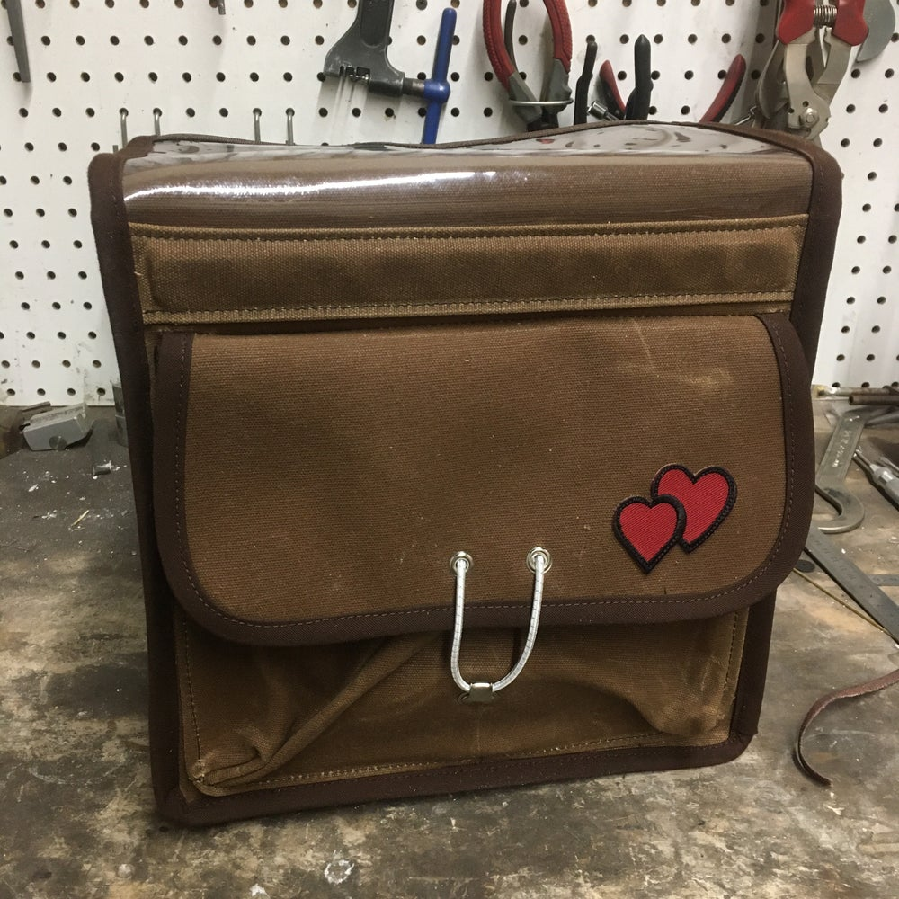 "Image of RuthworksSF 10"" Brown Waxed Canvas Randonneur Bag"
