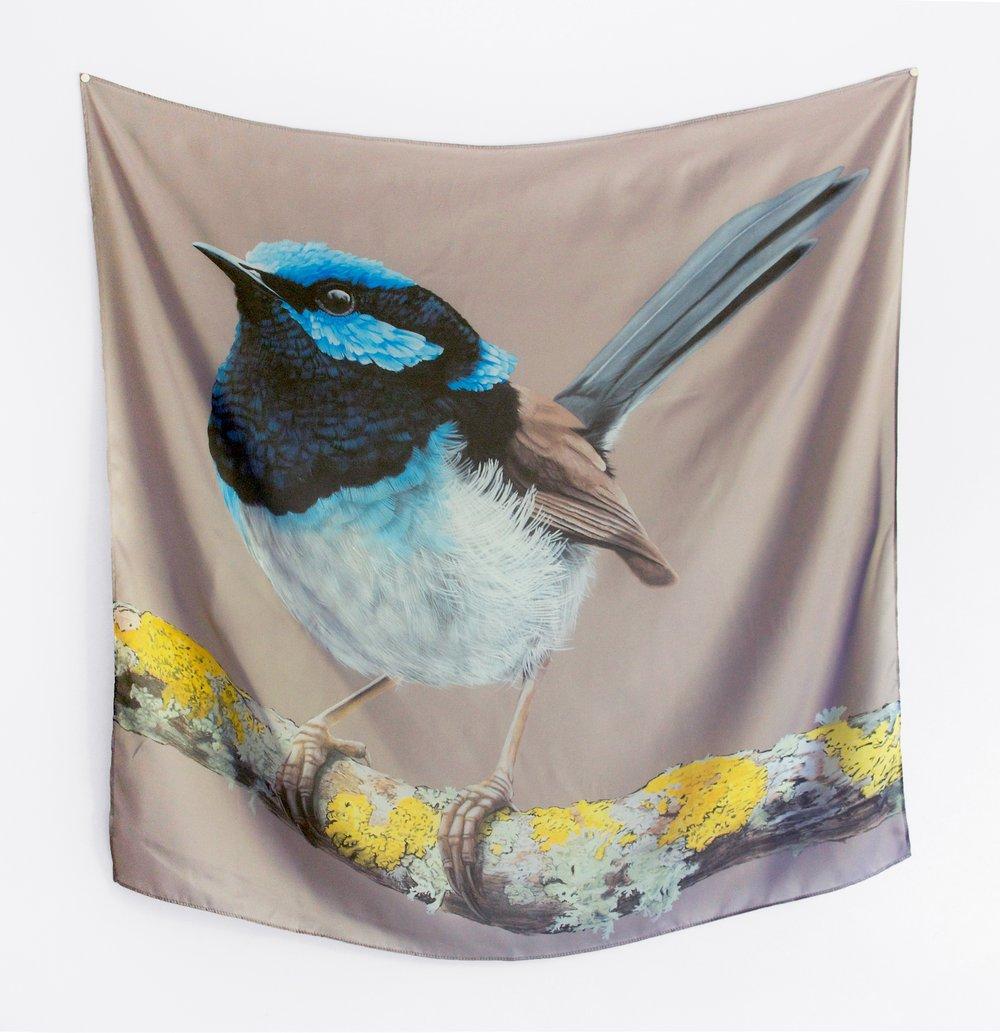 Image of Blue Wren Silk Scarf