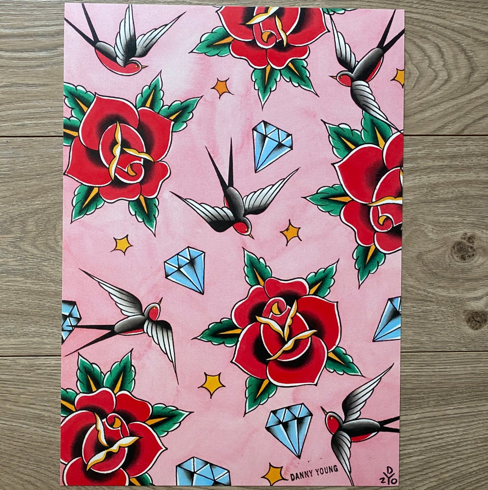 Image of A3 Bird, rose & diamonds Print by Danny