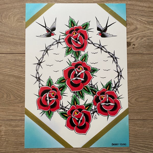 Image of A3 Peace wreath Print by Danny