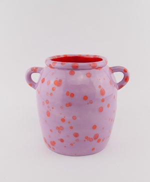 Lilac Red Spots Large Vase with Handles