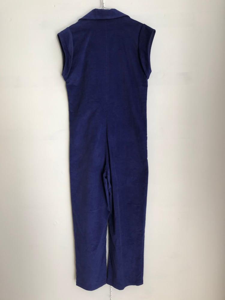 Image of Josephine buksedragt i blå fløjl