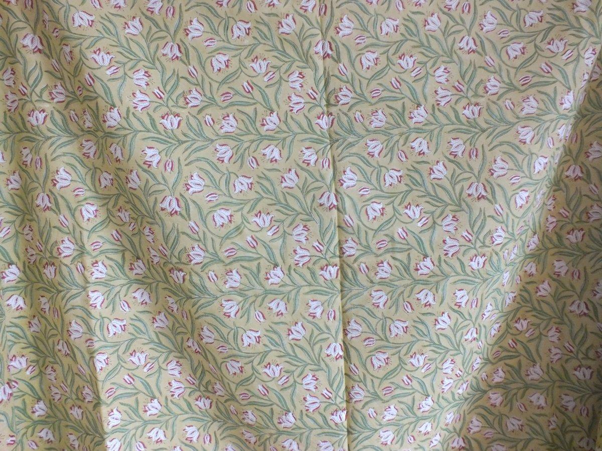 Image of Namasté fabric fond jaune petites tulipes
