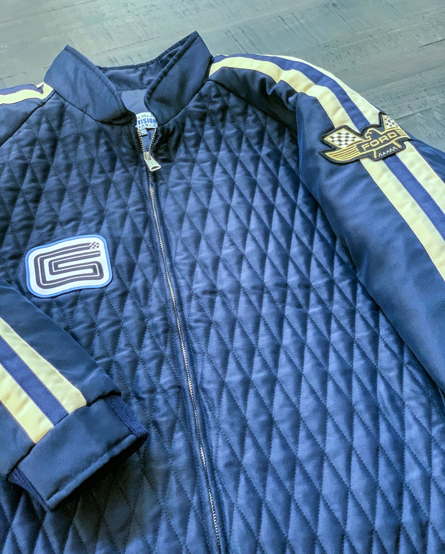 Image of OVC Presents - COBRA Crew Jacket - Blue, White Stripes COBRA Back