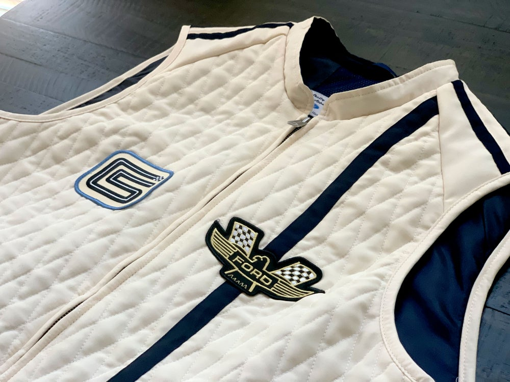 Image of OVC Presents - Ford v. Ferrari Carroll Shelby Crew Vest - White with Blue Stripes