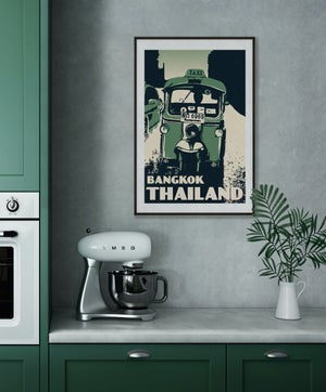 Image of Vintage poster Thailand - Bangkok Tuktuk Tropical Green - Fine Art Print