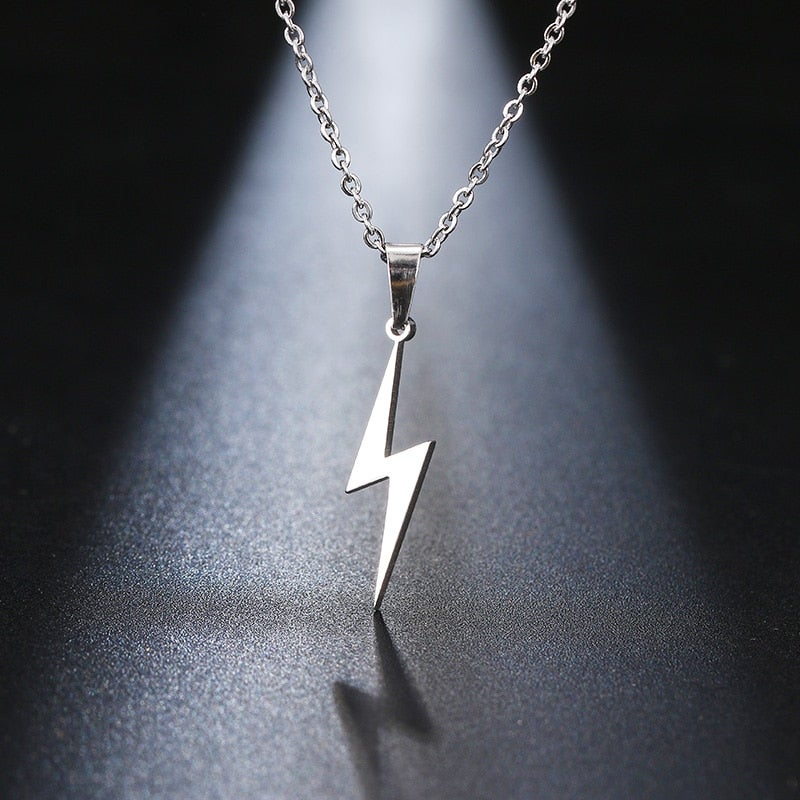 Stainless Steel Lightning Bolt Necklace (Silver or Gold)