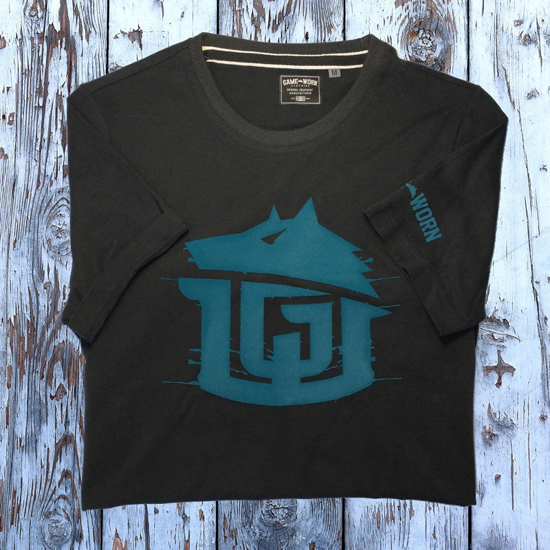 Image of GAME-WORN T-Shirt G-W Print Charcoal Black/Teal