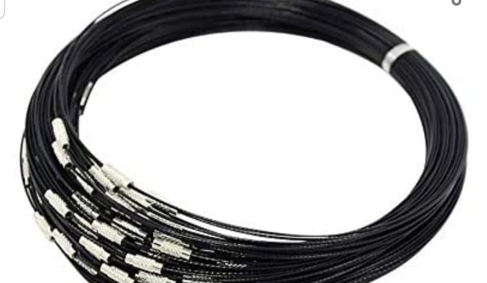 Image of Black cord necklace with screw closure