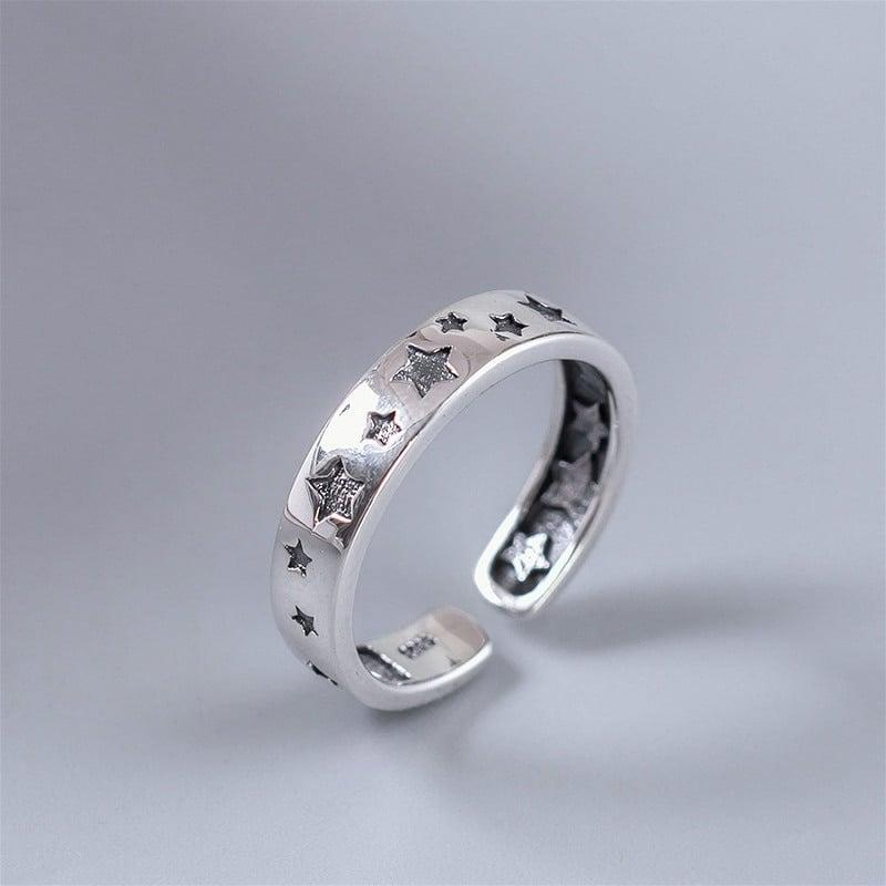 Retro Black Stars Ring (925 Sterling Silver)