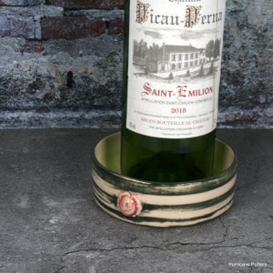 Image of Handmade Porcelain Wine Coaster in Green/White Stripes and  Romantic Pink Rose