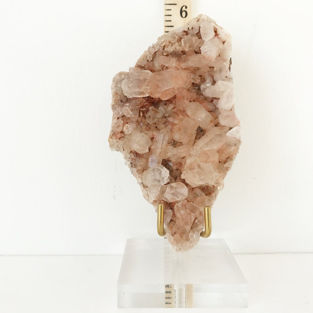 Image of Pink Himalayan Quartz no.30 + Lucite and Brass Stand