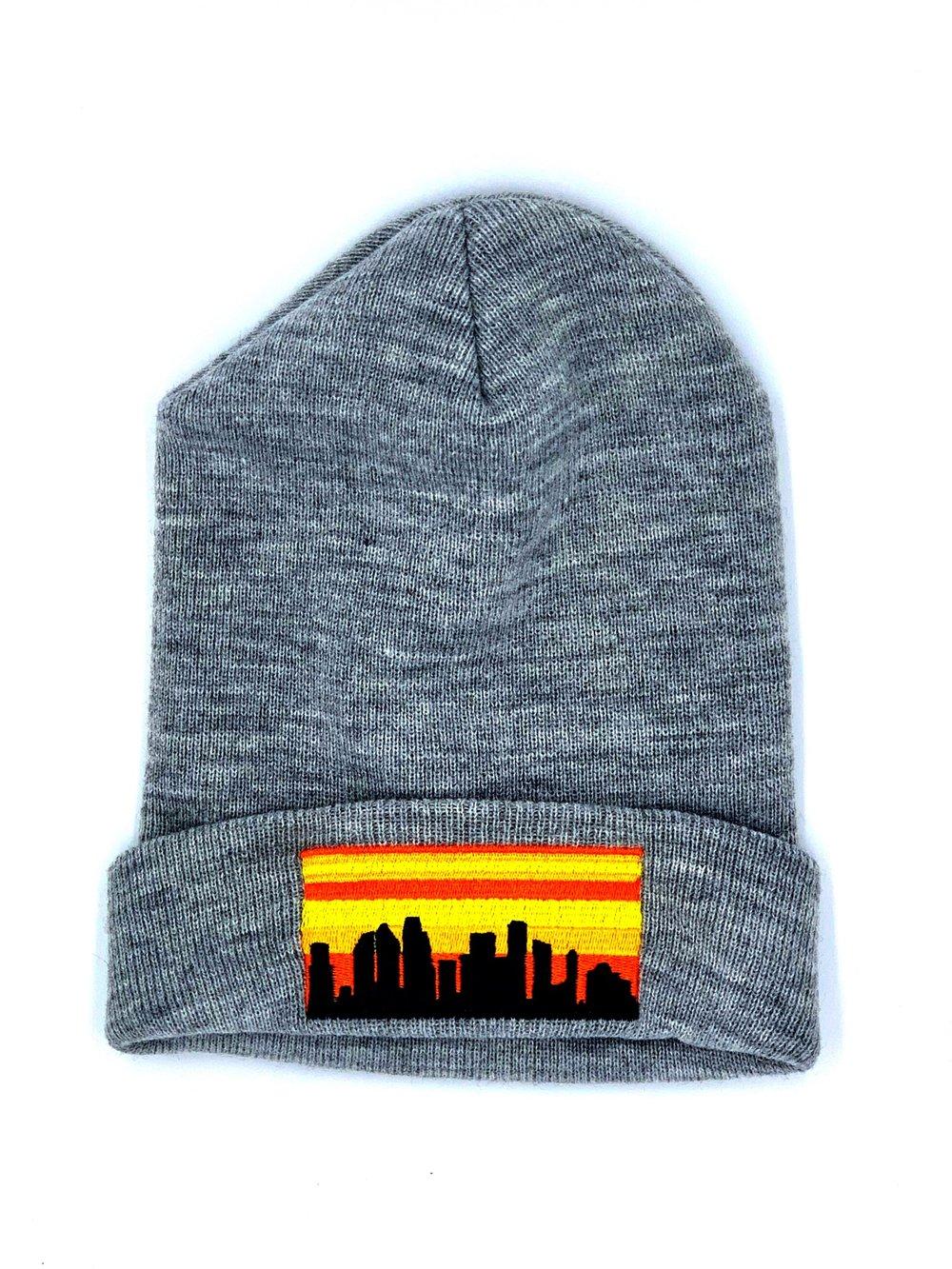 Embroidered Houston Skyline Knit Cap