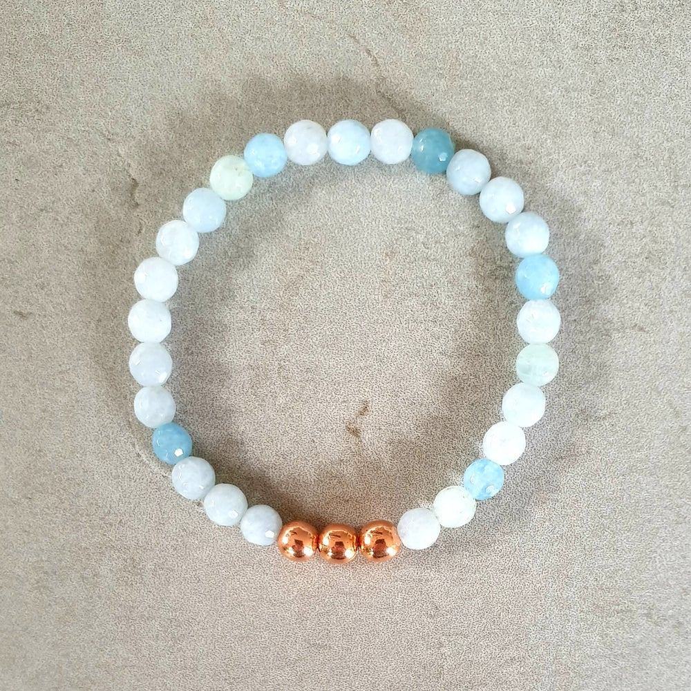 Image of AQUAMARINE & COPPER BRACELET - 6mm Faceted Bead