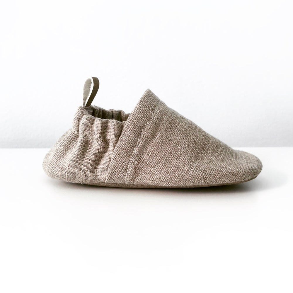 Image of Linen handmade soft handmade baby shoes