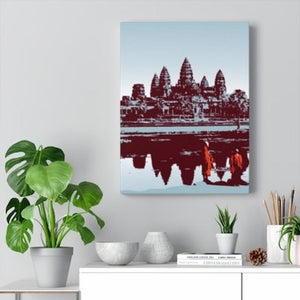 "Image of Cambodia Angkor Wat Canvas Gallery Wraps 12""x16"" Blue"