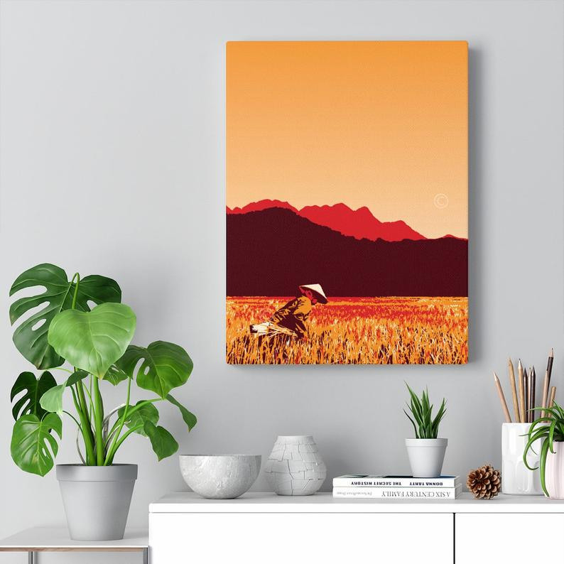 Image of Vintage poster Vietnam Hue rice field Canvas Gallery Wraps 12x16 inches