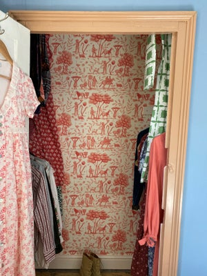 Image of Pink Toile Wallpaper