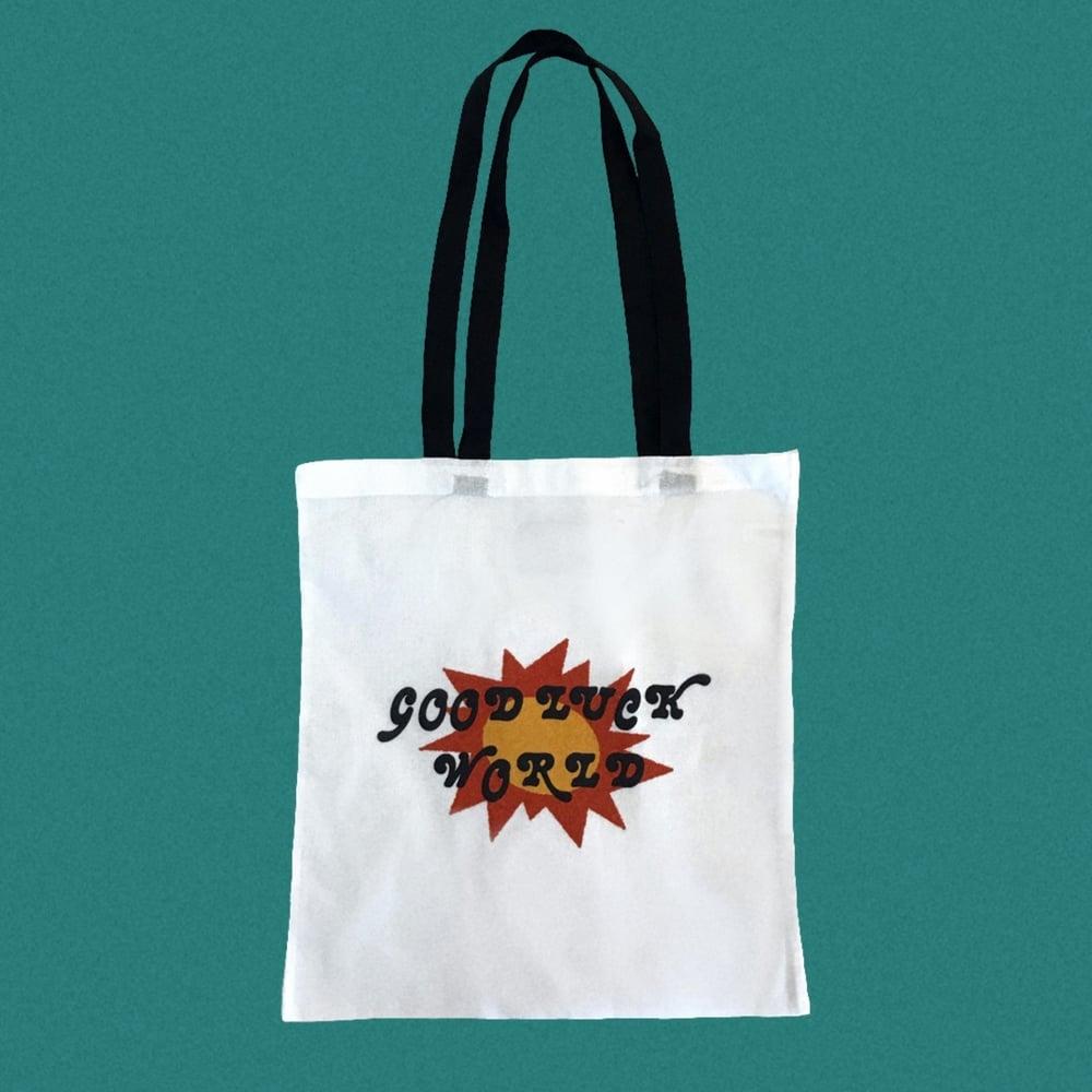 Image of GOOD LUCK WORLD SUN TOTE BAG.