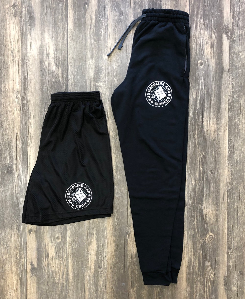 Image of GASOLINE AND BAD CHOICES athletic shorts + joggers