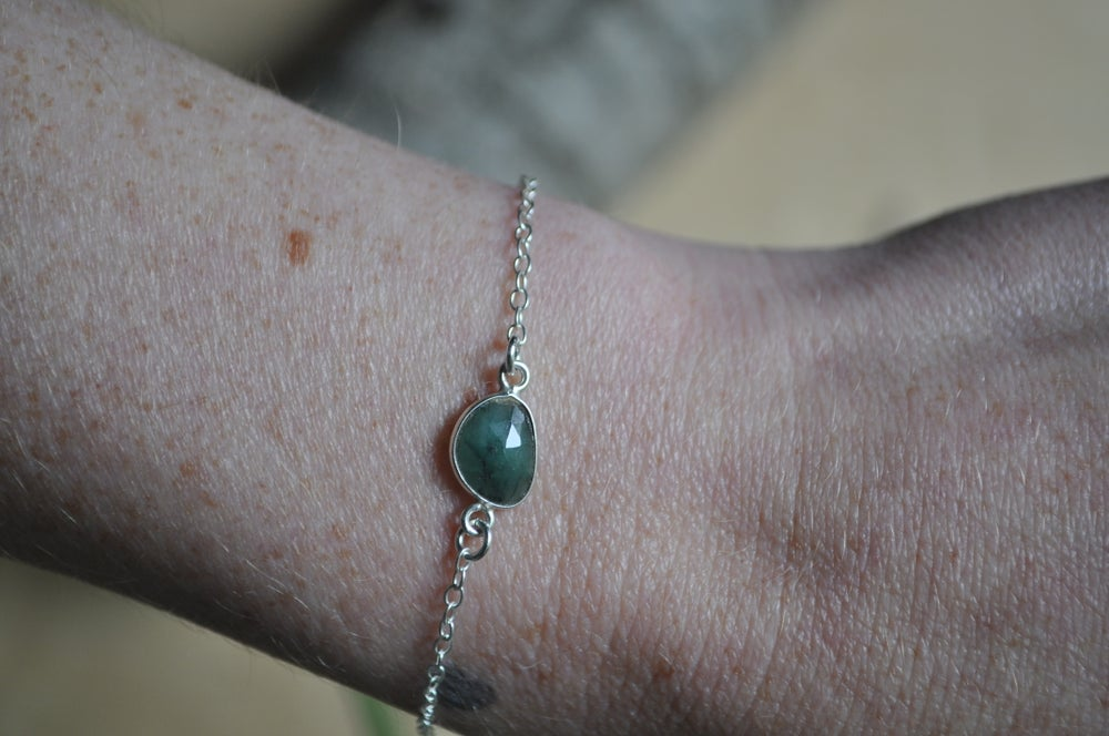Image of Tiny Natural Emerald Bracelet in Sterling Silver