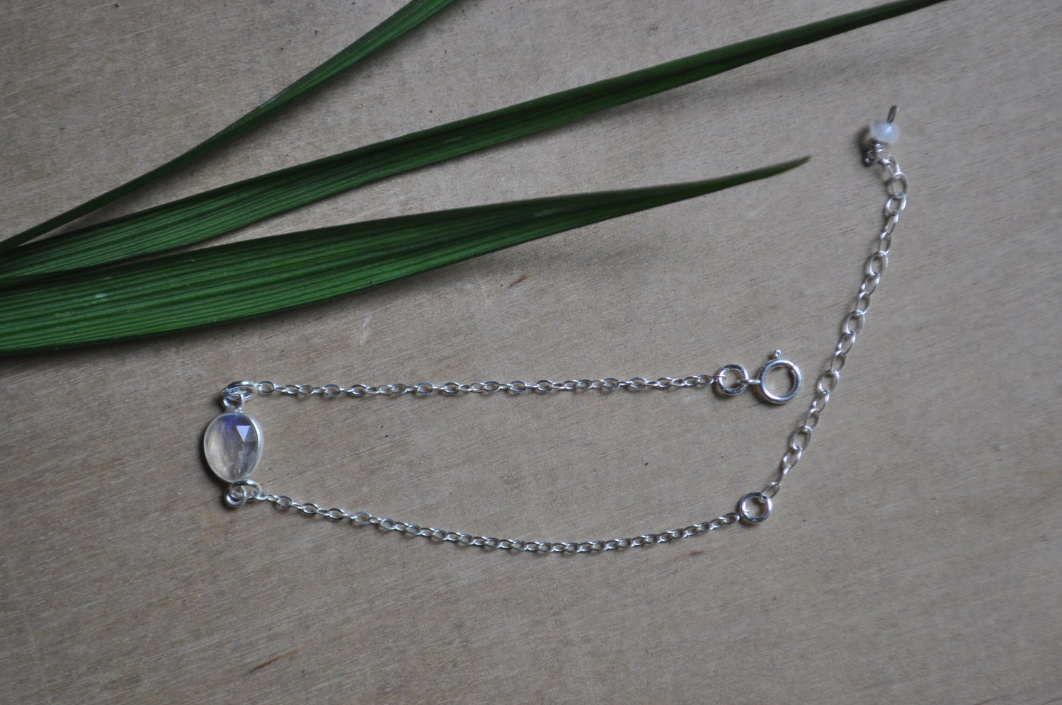 Image of Tiny Rainbow Moonstone Bracelet in Sterling Silver