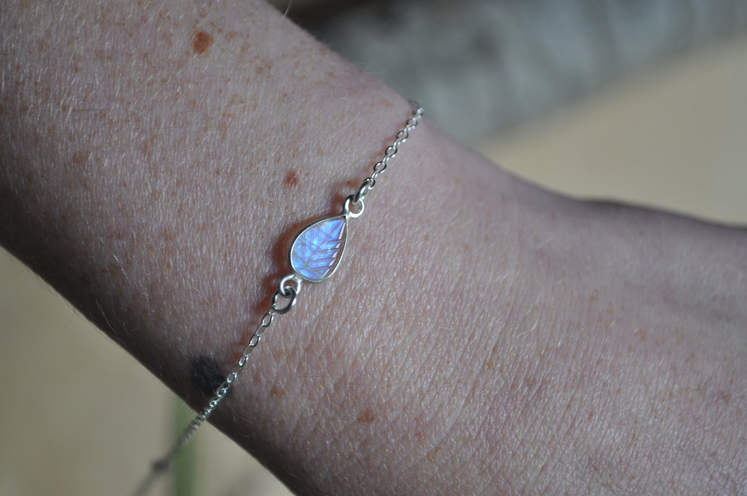 Image of Tiny Rainbow Moonstone Leaf Bracelet in Sterling Silver