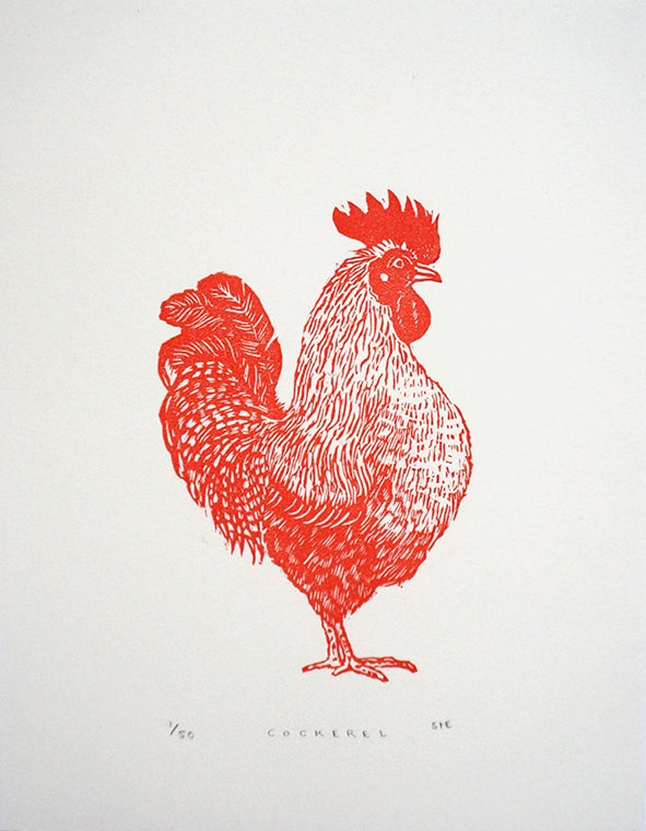 Image of Cockerel - Linocut
