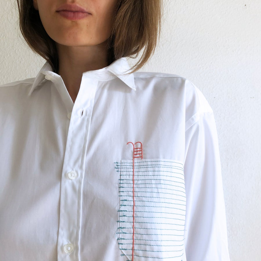 Image of The pool of the words unsaid - hand embroidered 100% cotton shirt, unisex design