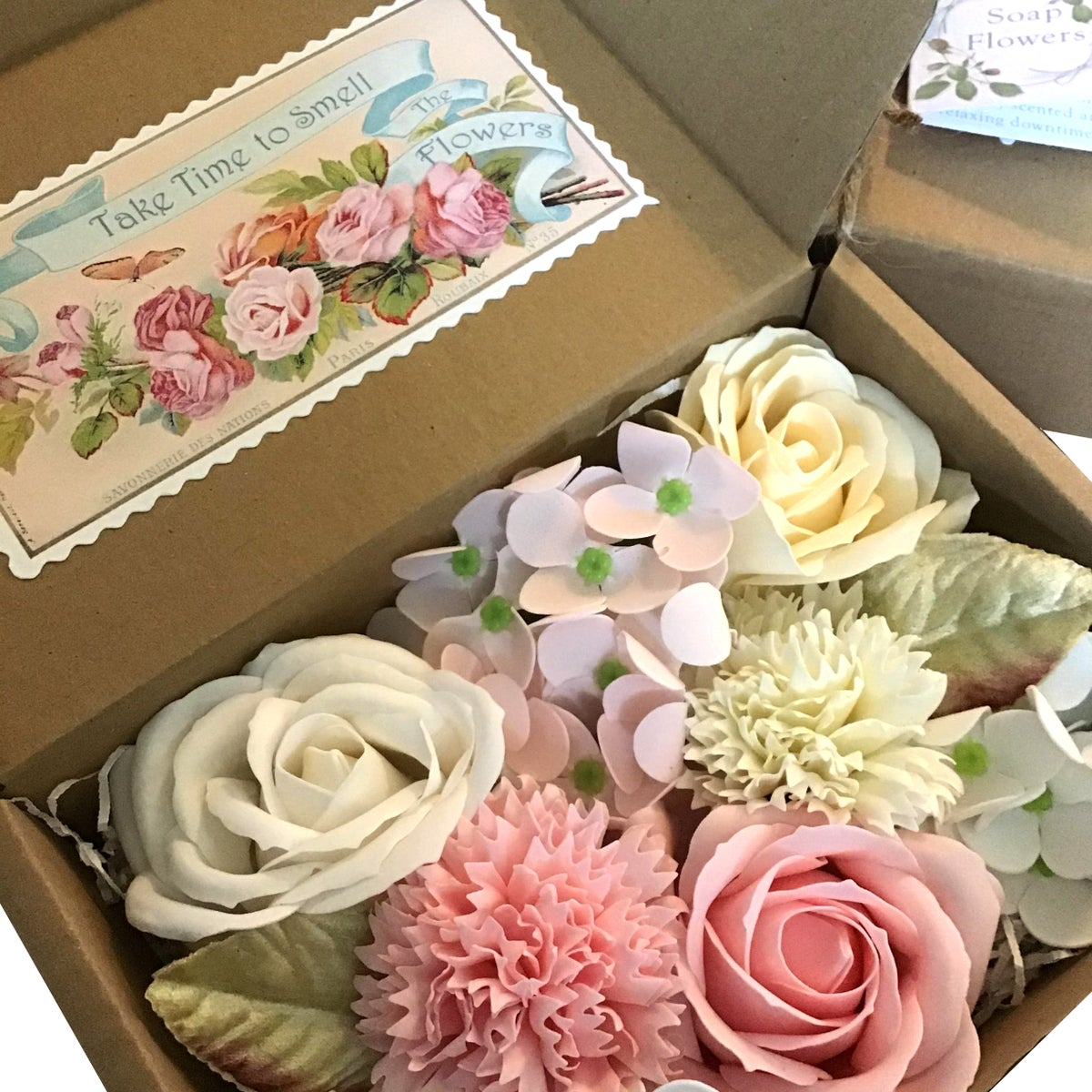 Image of Pretty Soap Flowers Pink Garden Mix
