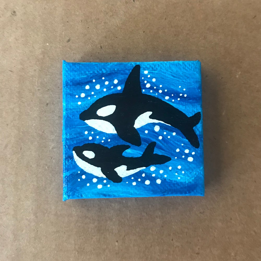 Image of Tiny Painting of Two Orcas