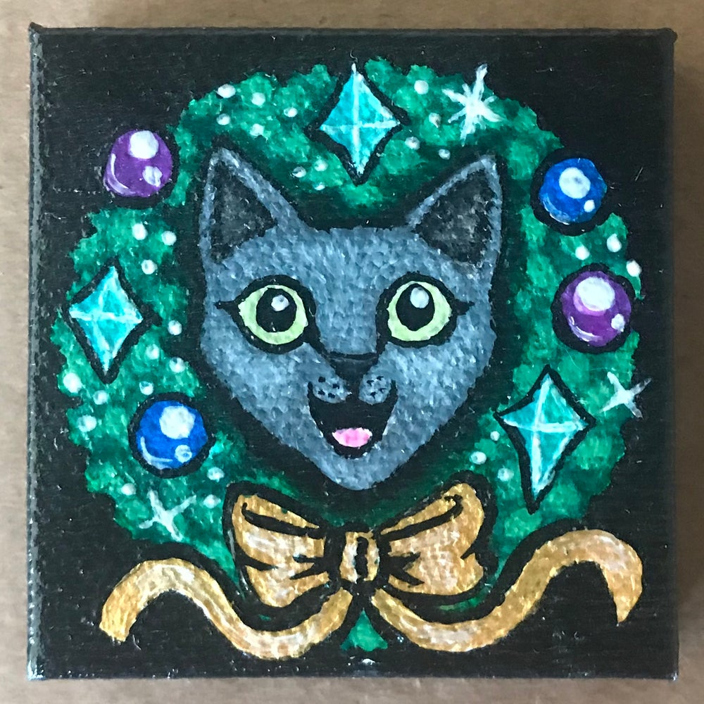 Image of Tiny Painting of a Christmas Cat