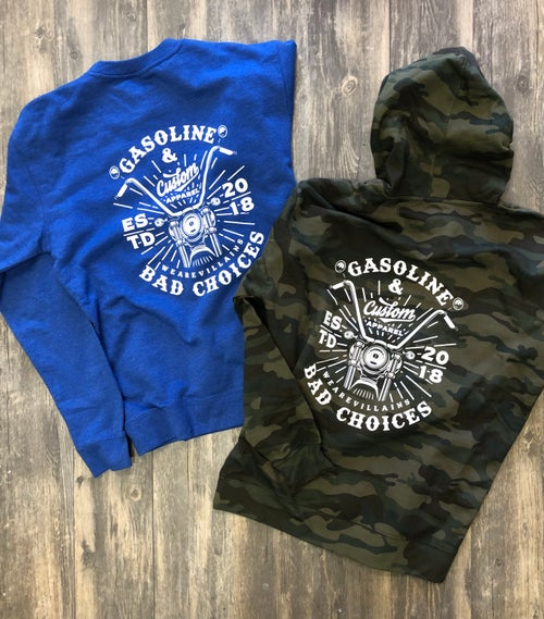 Image of GASOLINE AND BAD CHOICES hoodie + crewneck sweatshirt