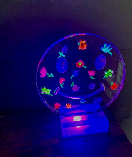 Image of NEW Smiley Lucite Lamp with small painted flowers!