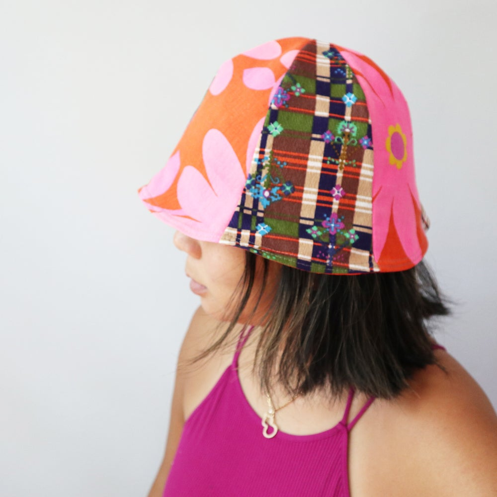 Image of plaid flower power bold tween teen adult vintage fabric six panel bucket hat buckethat