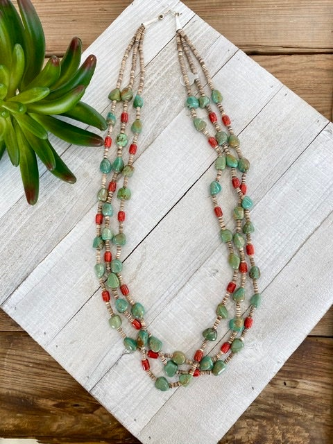 Triple Strand Turquoise & Coral Necklace