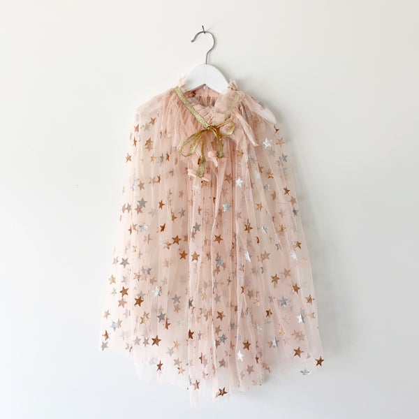 Image of Magic cape - blush with glitter stars and ruffle collar