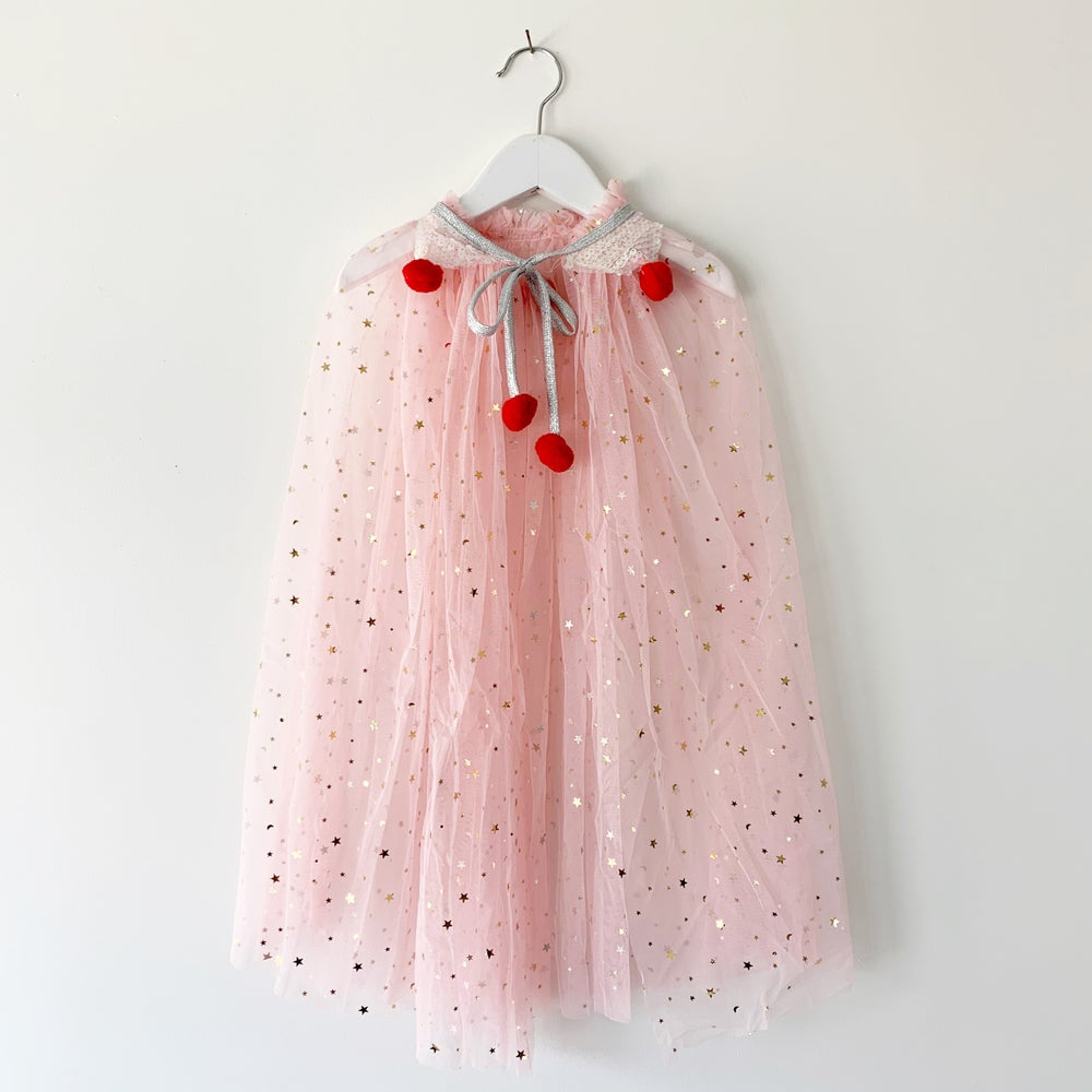 Image of Valentine's Magic Cape - Stars with Iridescent Collar and Red Poms