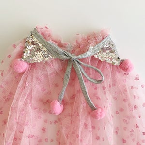 Image of Valentine's Magic Cape - Hearts with Silver Collar and Pink Poms