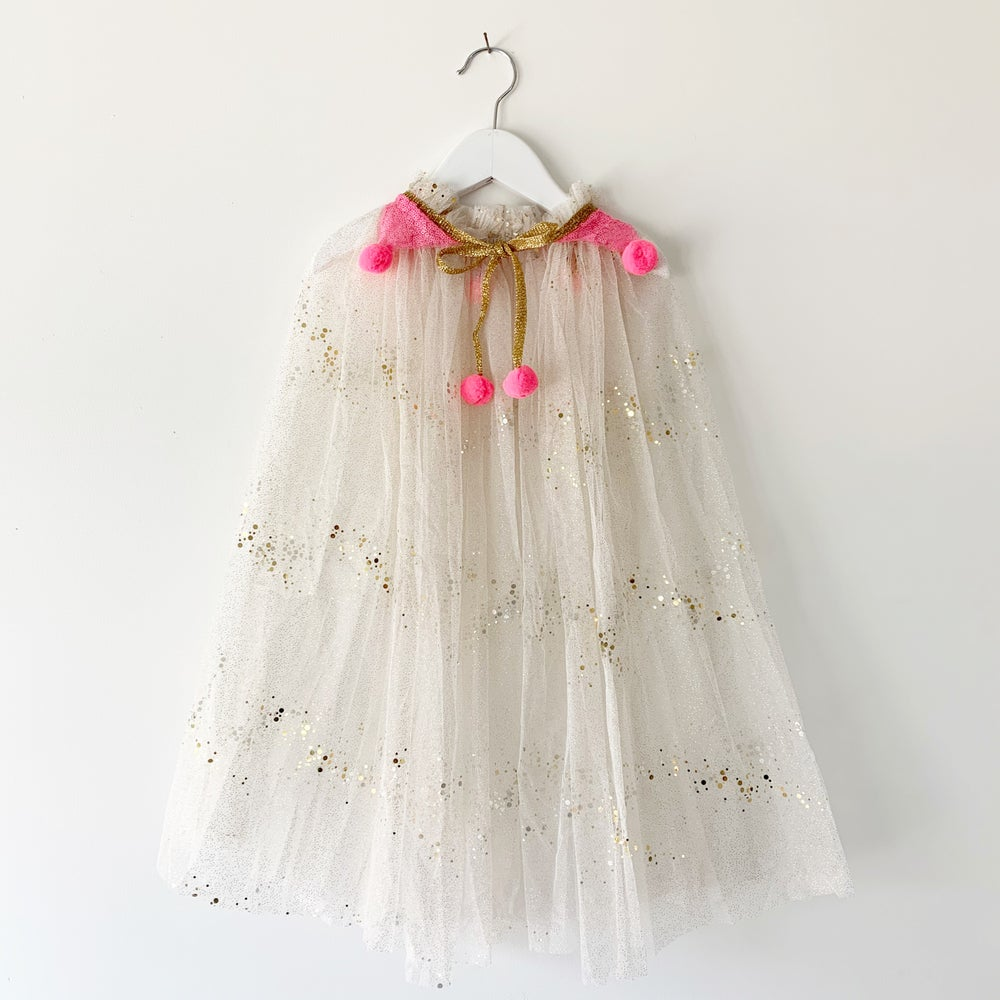 Image of Magic cape - gold with hot pink sequins and hot pink poms