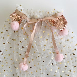 Image of Magic cape - cream with rose gold sequins and blush poms