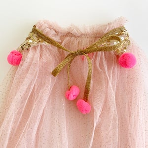 Image of Magic cape - blush with gold sequins and hot pink poms