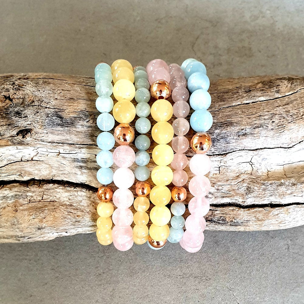 Image of THREE FOLD FLAME BRACELET - Rose Quartz - Orange Calcite - Aquamarine - Copper