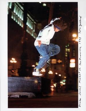 Drake Jones, Switch nose grind, Market St San Francisco 1997 by Tobin Yelland