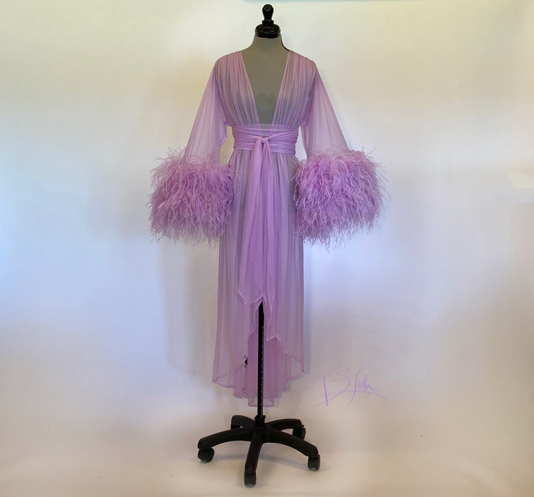 Image of Ostrich Cuff Boudoir Gown