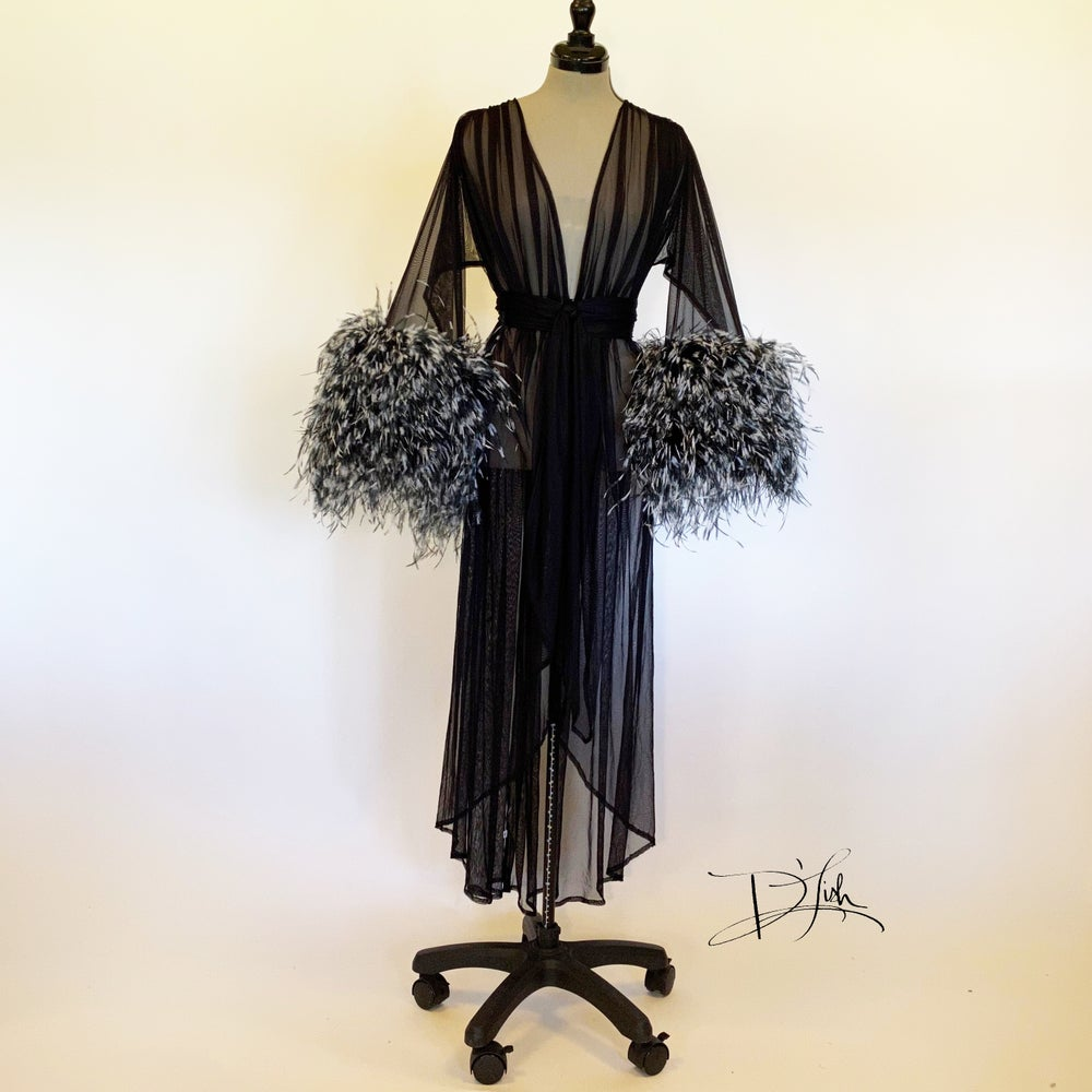 Image of Black/White Ostrich Cuff Boudoir Gown
