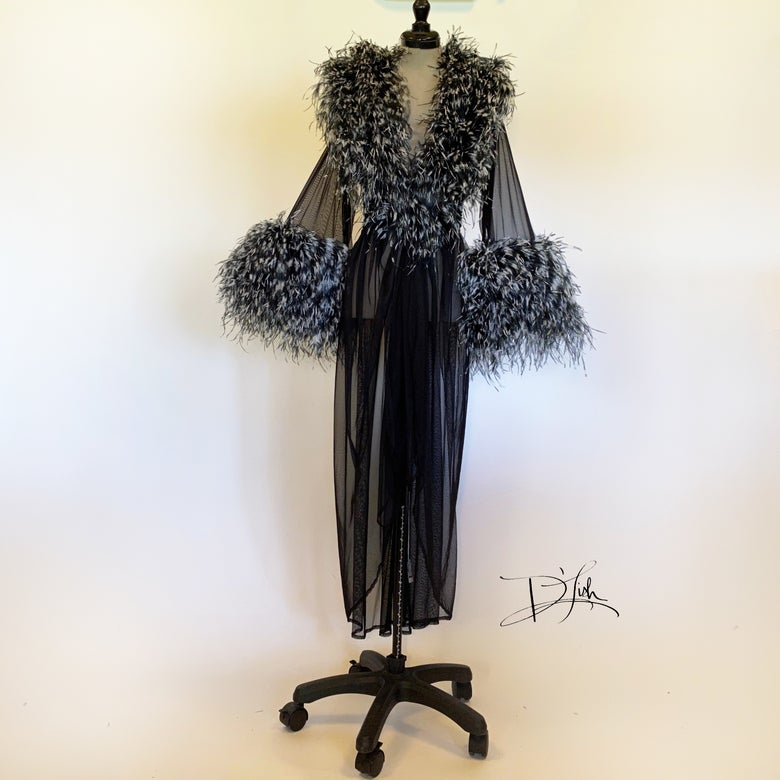 Image of Black/White Ostrich Boudoir Gown w/ full collar & cuffs